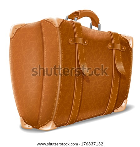 Leather big travel suitcase. Detailed and isolated on white background - stock vector