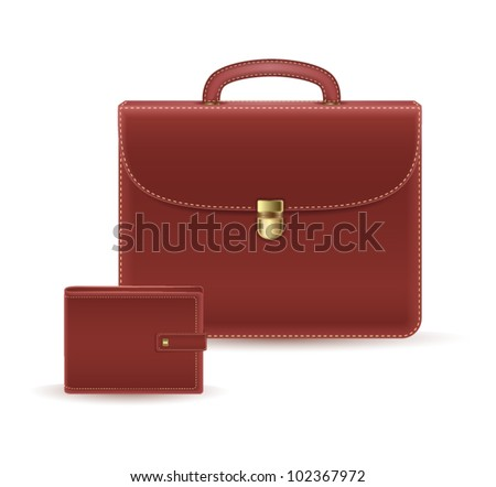 leather briefcase and wallet icon. vector illustration - stock vector