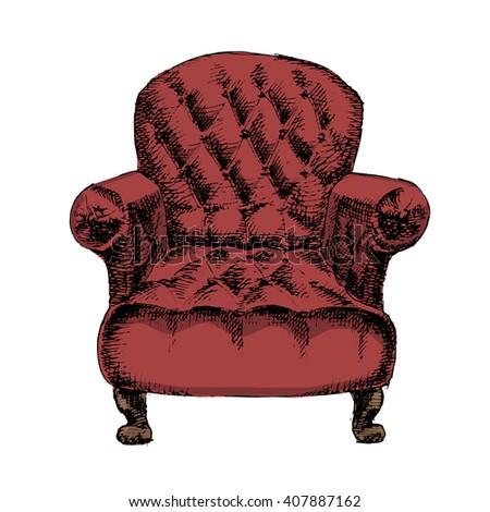 Leather chair. Hand drawn chair on white background. Vector illustration. - stock vector