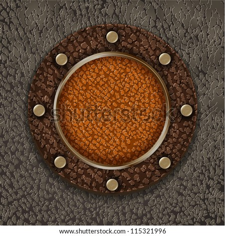 Leather label with metallic elements - vintage steampunk design - stock vector