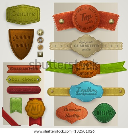 Leather labels and ribbons collection - eps10 - stock vector