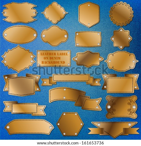 Leather labels on denim jeans background - stock vector