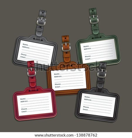 Leather luggage tags labels. Vector illustration - stock vector