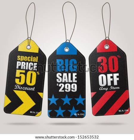 Leather sale tags - stock vector