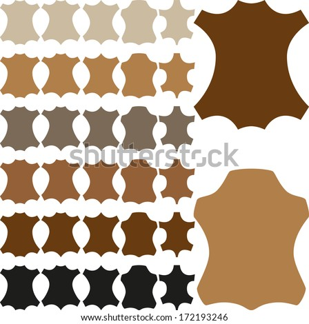 Leather sign in different shapes and colors. Vector