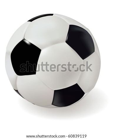 Leather soccer ball. Vector illustration.