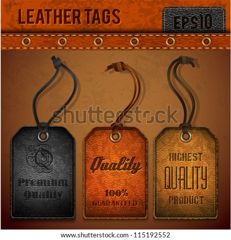 Leather tags set - eps 10 - stock vector