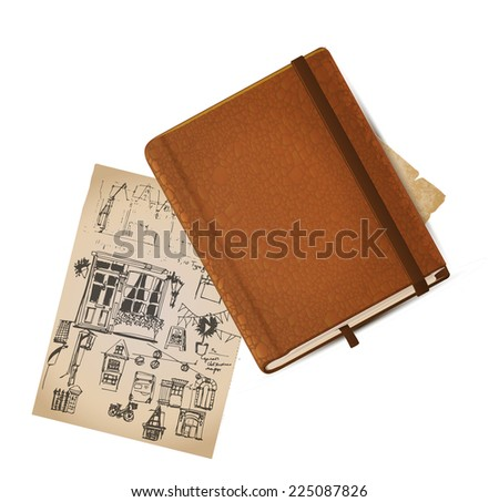 Leather vintage note book. Vector. Eps 10. - stock vector