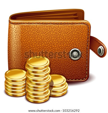 Leather wallet - stock vector