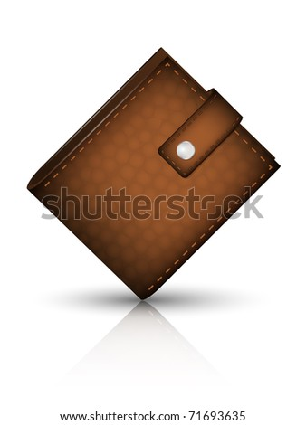 Leather wallet, vector
