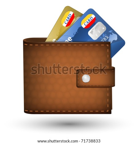 Leather wallet with credit cards inside. Vector illustration - stock vector