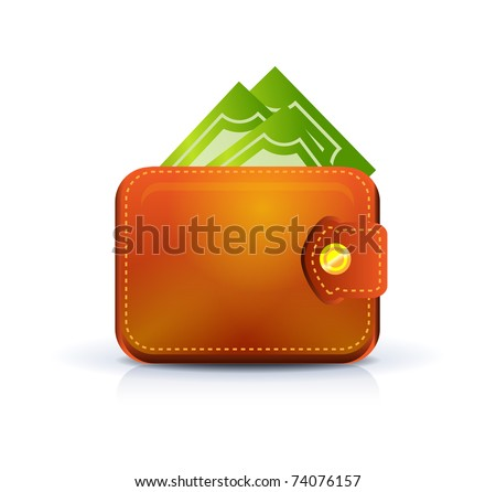 Leather wallet with notes inside - stock vector