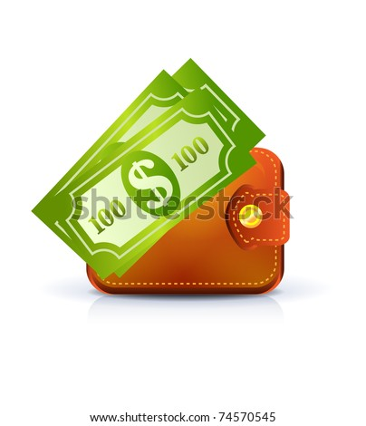 Leather wallet with notes on white - stock vector