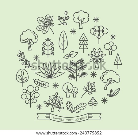 Leaves and Trees icons with outline style vector design elements - stock vector