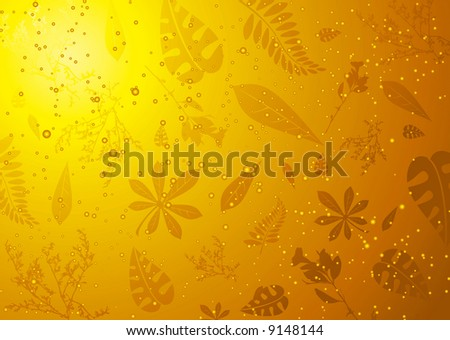 Leaves and twigs caught in fossiled amber ideal background - stock vector