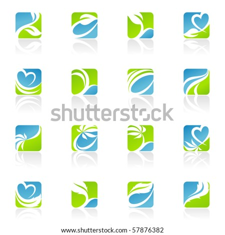 Leaves. Elements for design. Abstract icons. Vector illustration. - stock vector
