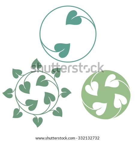 Leaves icon green symbol. Vector set - stock vector