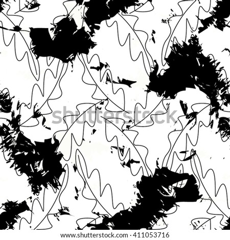 Leaves in the pattern, scribble, seamless vector background.