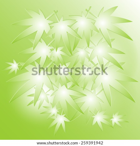 Leaves of Japanese maple on the green background, vector, eps 10 - stock vector
