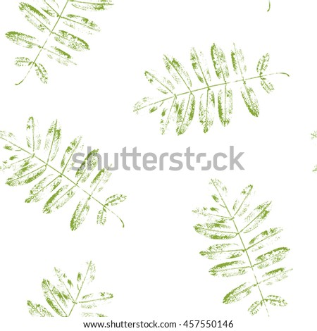 Leaves of mountain ash. Seamless pattern with leaf prints. Vector illustration.