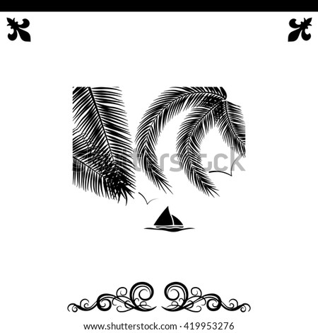 Leaves of palm tree icon. Simple black vector symbol. Logo for web. Image for business. - stock vector