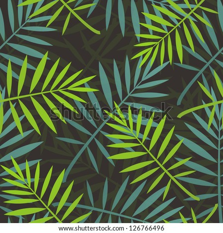 Leaves of palm tree. Seamless pattern. - stock vector