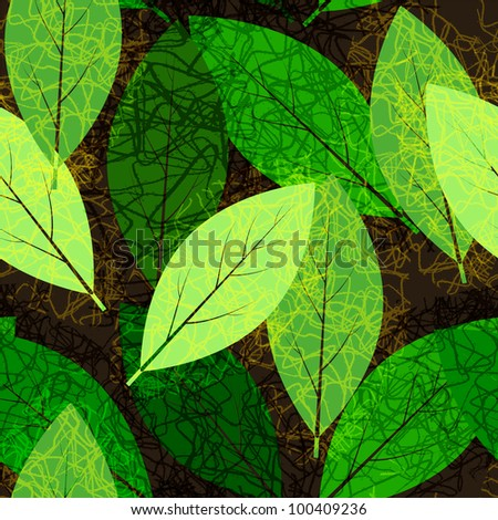 Leaves seamless pattern - stock vector