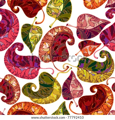 Leaves seamless pattern. Vector graphic stylized floral repeat background. Bright and multicolored, joyful and positive. - stock vector