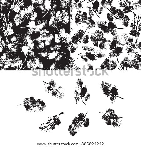 Leaves vector set. Foliage. Leaf. Black and white seamless patterns and leaf Imprints set.