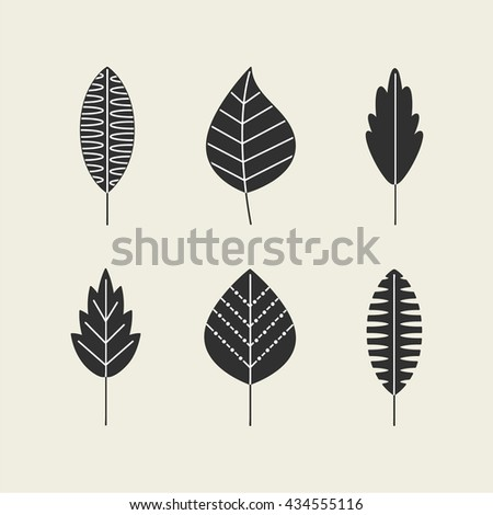 Leaves vector set isolated from the background. Collection black silhouettes of leaves. Leaves icon different shapes in modern flat style. Simple leaves tree.  - stock vector