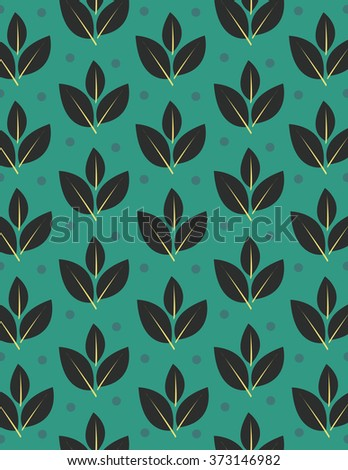 Leaves with steam repeating pattern over green background - stock vector