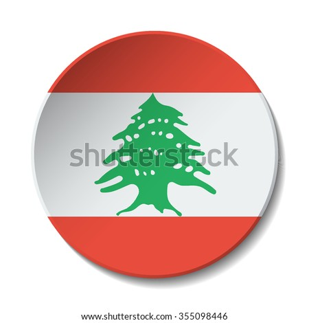 Lebanon Flag Button. Vector icon flag of Lebanon on white background. Paper cut style country flag.