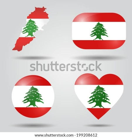 Lebanon flag set in map, oval, circular and heart shape. - stock vector