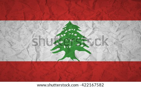 Lebanon  flag with the effect of crumpled paper and grunge