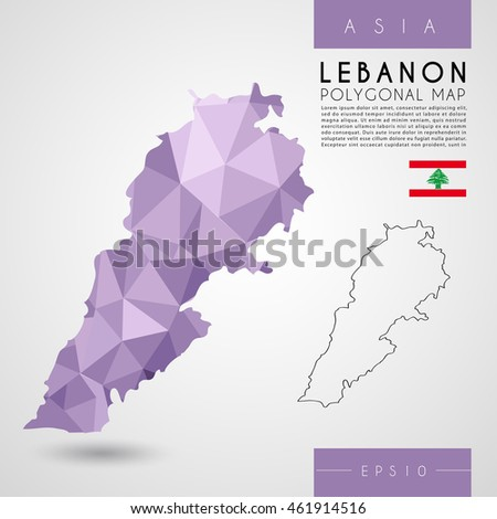Lebanon : Low Poly Map : Vector Illustration