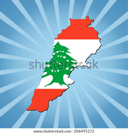 Lebanon map flag on blue sunburst illustration - stock vector