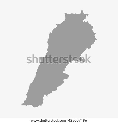 Lebanon  map in gray on a white background - stock vector
