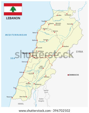 lebanon road map with flag - stock vector