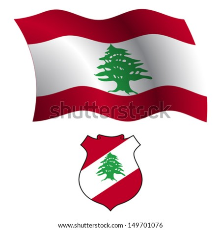 lebanon wavy flag and coat of arm against white background, vector art illustration, image contains transparency - stock vector