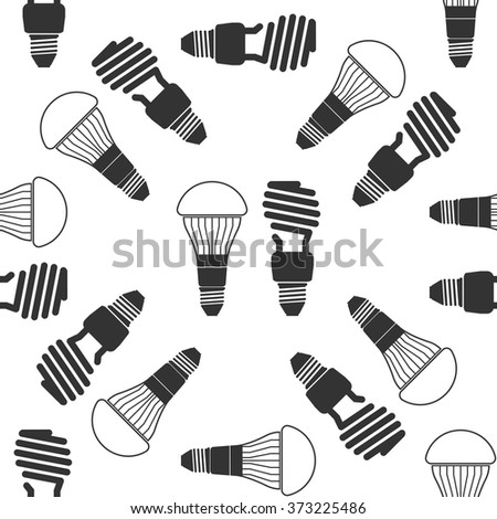 LED bulbs and fluorescent light bulb icon seamless pattern on white background. Vector Illustration - stock vector