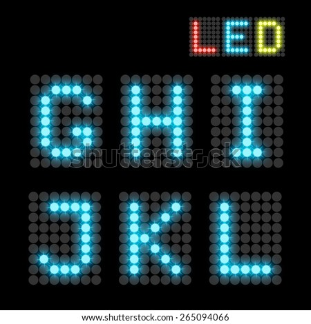 LED font - stock vector