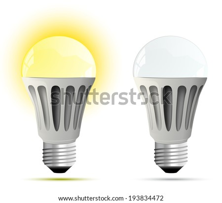 LED lamp. glowing and turned off. Vector illustration - stock vector
