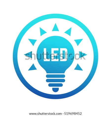 vector square blue icon lighting bulb. led light bulb icon with blue gradient vector square lighting