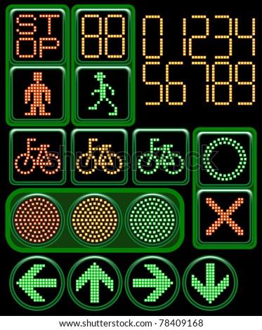 LED traffic light - stock vector