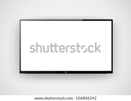 Led tv hanging on the wall background - stock vector
