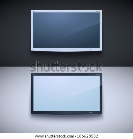 Led tv hanging on the wall. Two color, for your design - stock vector