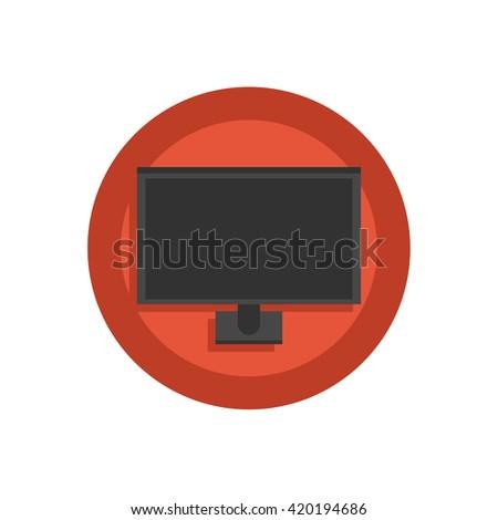 LED TV Illustration - Flat Icon - stock vector