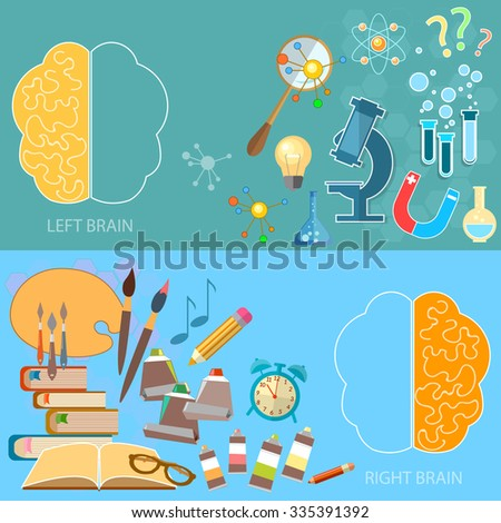 Left and right brain functions concept education analytical and creativity sciences and arts back to school vector banners - stock vector