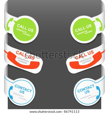 Left and right side signs - CONTACT US and CALL US. Vector illustration.