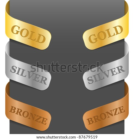 Left and right side signs - Gold, Silver, Bronze. Vector illustration.